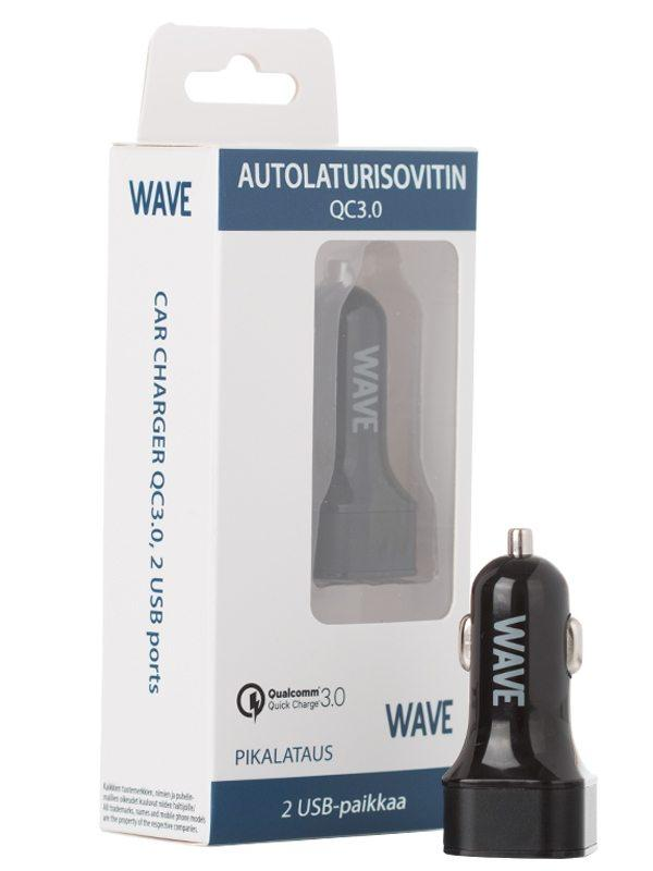 WAVE Musta autolaturi QUALCOMM 3.0 + 2USB