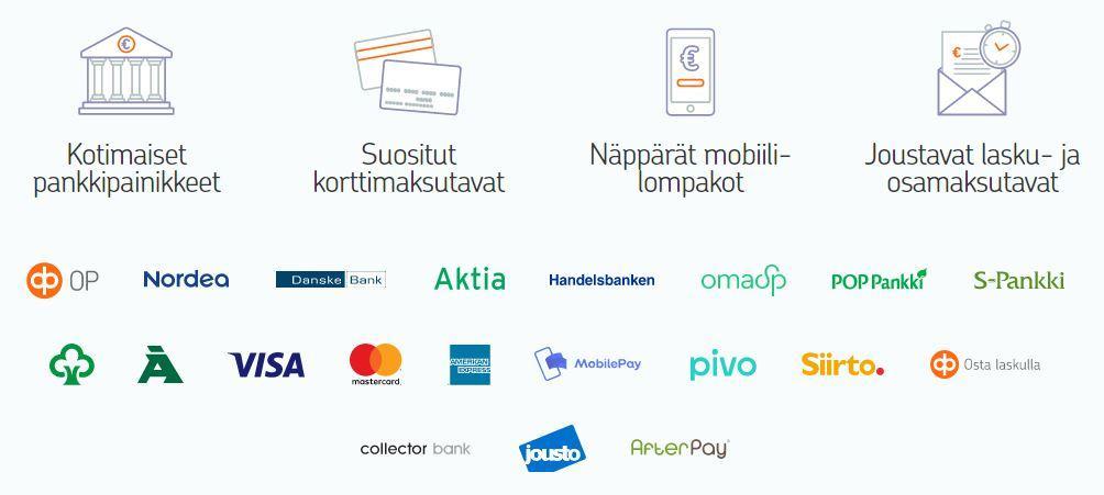 checkout verkkokaupan maksutavat