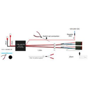 Kytkentäsarja kahden parkki lisävalon asennukseen, DTP4-liitin